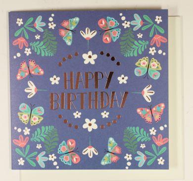 Systemkort PC Blue Happy Birthday Flowers
