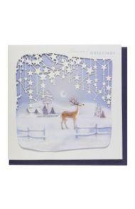 Julekort PC Deer Stars Lasercut