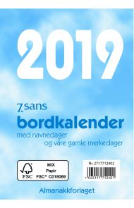7.Sans Bordkalender Bokmål Blå