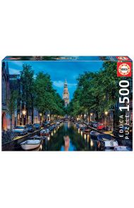 Puslespill Educa 1500 Amsterdam Canal At Dusk