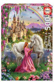 Puslespill Educa 500 Fairy And Unicorn