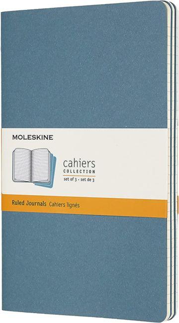 Notatbok Moleskine Cahier 3pk L - Linjert Brisk Bl