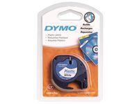 Tape Dymo LetraTAG 12mm plast sort/ hvit