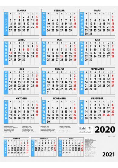 Kalender med ukenummer 2019