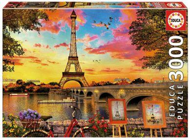 Puslespill 3000 Sunset In Paris Educa