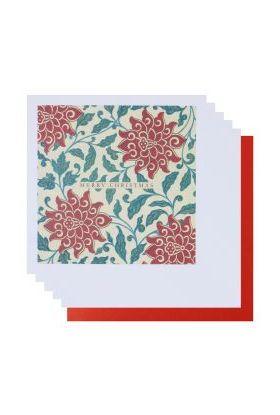 Julekort PC Red Floral Fine Art 8 Pk