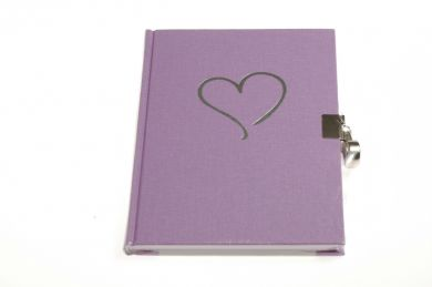Dagbok M Lås Hjerte Linj Purple Grey