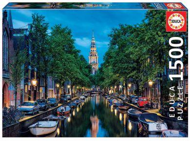 Puslespill 1500 Amsterdam Canal At Dusk Educa