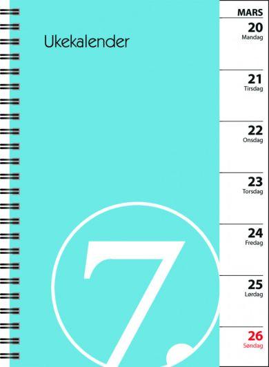 7. Sans Ukekalender Spiralisert Refill Blå 2020