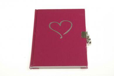 Dagbok M Lås Hjerte Linjert Dark Rose
