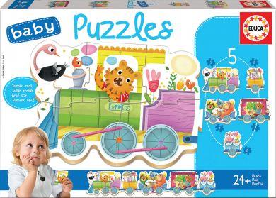Puslespill 5i1 Baby Animal Train Educa