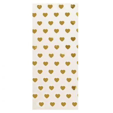 Silkepapir 3 Gold Foil Heart