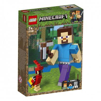 Lego Minecraft Bigfig Steve Med Papegøye 21148