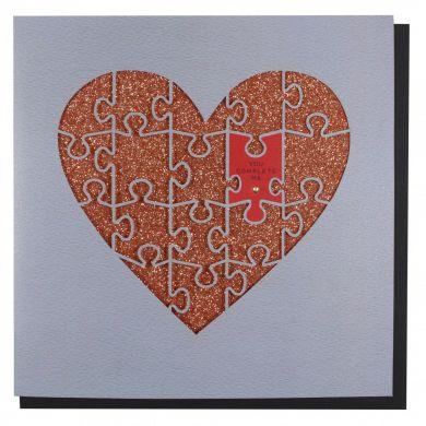 Kort PC Val Lasercut Jigsaw Heart
