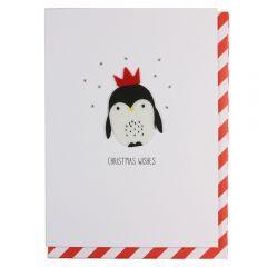 Julekort PC Penguin In Crown