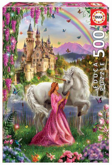 Puslespill 500 Fairy And Unicorn Educa