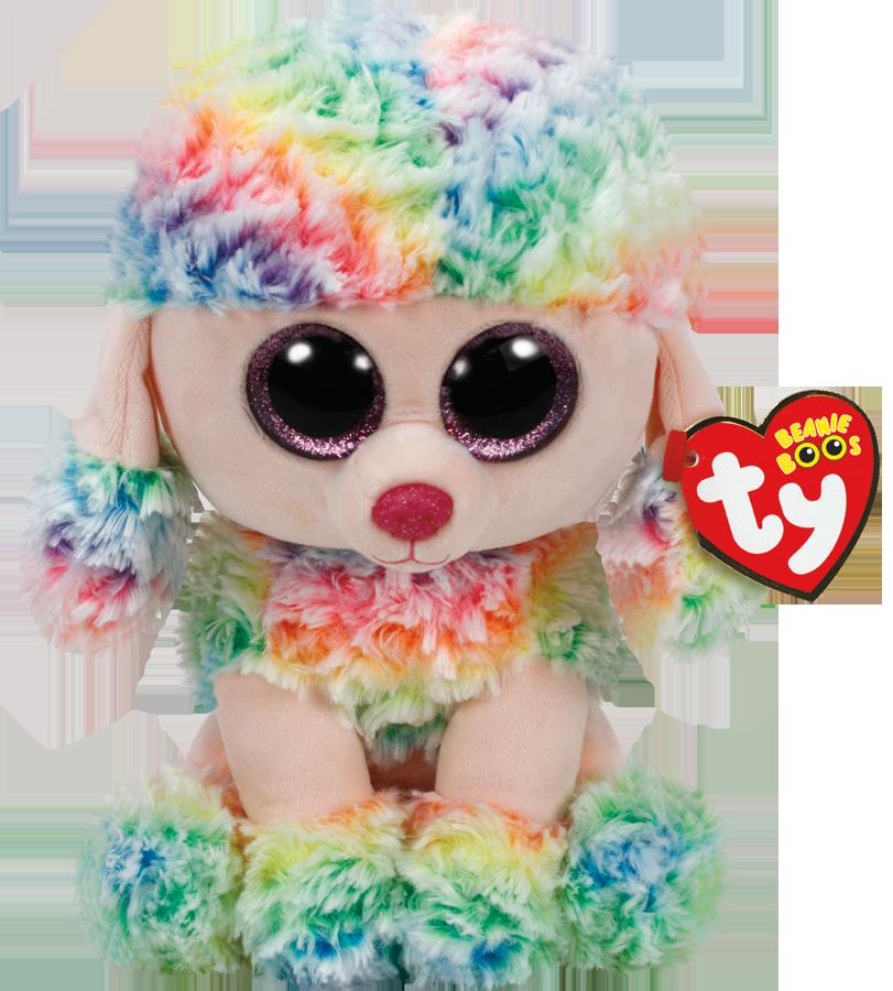 Vellidte Bamse TY Rainbow Multicolor Poodle Medium JO-44