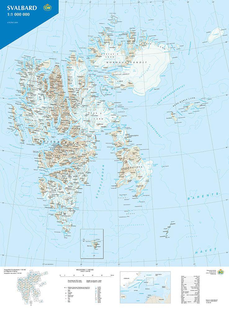 Svalbard Kart 1 1 000 000 Av Norsk Polarinstitutt Brettet Norli No