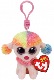 Bamse TY Rainbow Multicol Poodle Clip