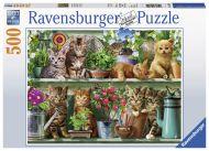 Puslespill 500 Cats On Shelf Ravensburger