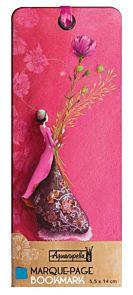 Bokmerke m/fløyelsbånd 55x140 G.Boissonnard rosa