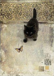 Kort 167x118 Paper og foil Black Kitten