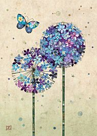 Kort 167x118 Paper og foil Butterfly Alliums