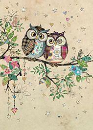 Kort 167x118 Paper og foil Owl Couple