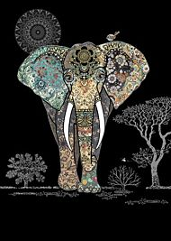 Doble kort 167x118 Jewels  Decorative Elephant