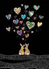 Doble kort 167x118 Jewels  Love Bunnies