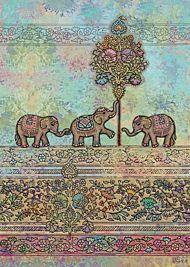 Doble kort 167x118 Decoratives, Indian Elephants