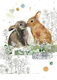 Doble kort Bug Art 120x170 Critters  Rabbit Kiss