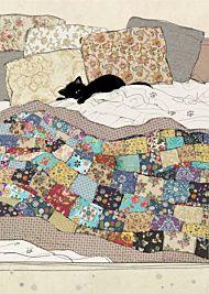 Doble kort 167x118 Black Ink Bed Kitty
