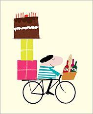 Dobbelt kort Ink Press, mann på sykkel m/gaver og