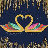 Kort Sara Miller Heart Swans