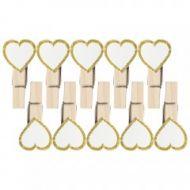 Wedding White Heart Pegs X10