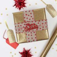 Gavepapir 2m Gold Glitter