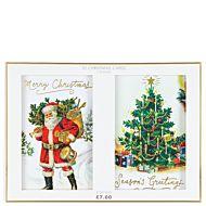 Julekort Trad Santa And Tree 10pk