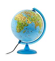 Globus m/lys Safari 30cm, plastfot, norsk tekst