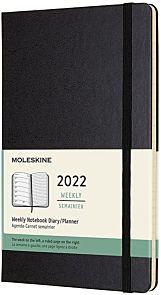 Kalender Moleskine 2022 12m Large Uke Sort