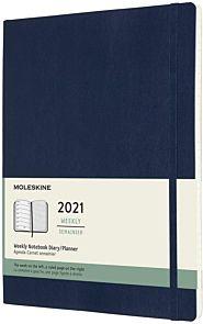 Moleskine 2021 12M XL Uke Safirblå Soft