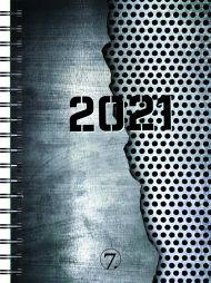 Dagbok 2021 7.sans Dag A5 Spiralisert Grå