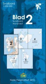Svalbard kart nordvest kartblad 2 i 1:250 000