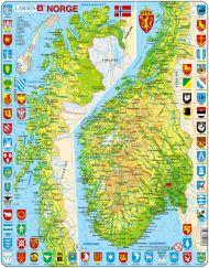 Platepusle Maxi Norgeskart (Sør/Nord) 65 Biter