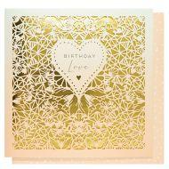 Systemkort Laser Cut Heart Happy Birthday