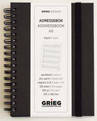 Adressebok Grieg A6 Spiral sort