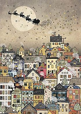 Doble julekort 12x17 Paper and Foil Town Sleigh