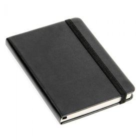 Notatbok Agenzio A6 Ulinjert Hardcover Sort 192s