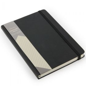 Notatbok Agenzio A5 Linjert Hardcover Sort 240s