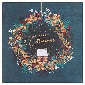 Julekort Merry Chrmas Green Wreath 6pk